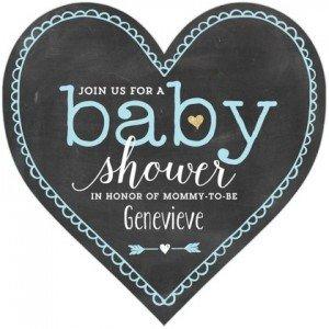 Blue Chalk Invitation, Heart-Shaped Baby Shower Invitations