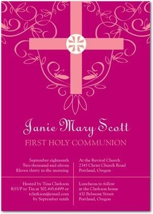 Bright Azalea Colorful Communion Invitations