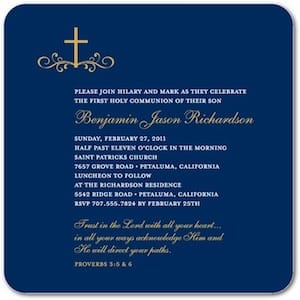 Calligraphic Cross Navy Holy Communion Invitations