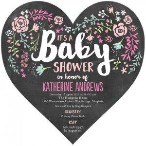 Chalkboard Flower Invitation, Heart-Shaped Baby Shower Invitations