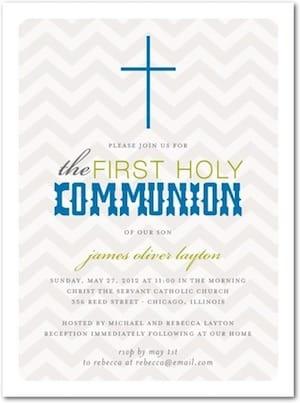 Chevron Cross Holy Communion Invitation
