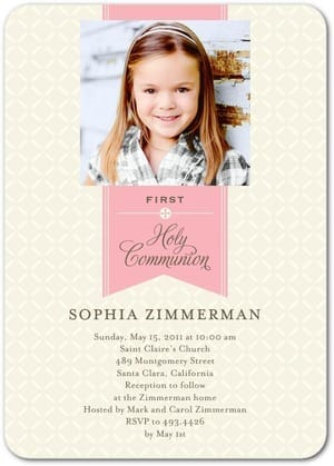Communion Rose Ribbon Invitation