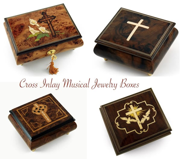 Cross Inlay Musical Jewelry Boxes