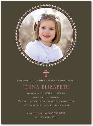 Decorative Frame Pink Girls Holy Communion Invitations