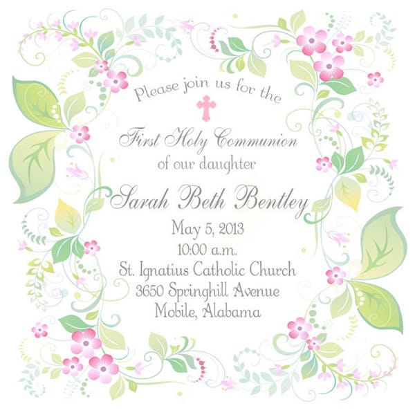 First Communion Invitation | Print Your Own