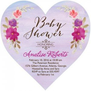 Lavender Heart Baby Shower Invitation