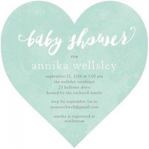 Mint Cursive Invitation, Heart-Shaped Baby Shower Invitations
