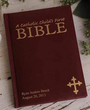Personalized Catholic Children's Bible in Maroon