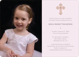 Photo Card First Holy Communion Invitations in Pale Pink