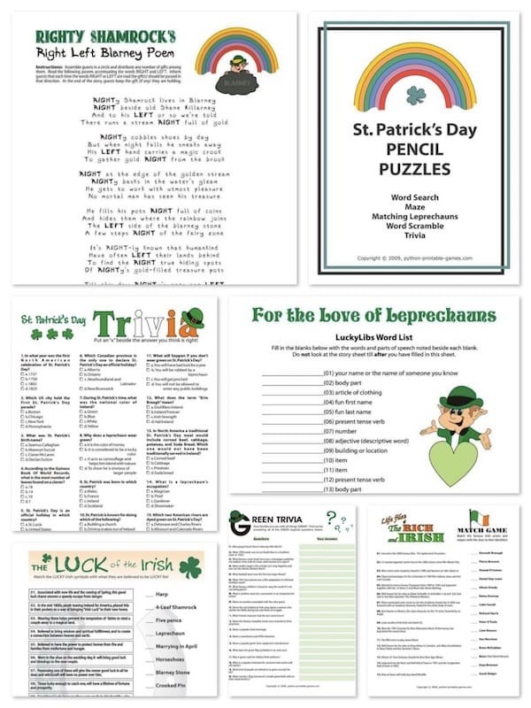 Printable St Patricks Day Games