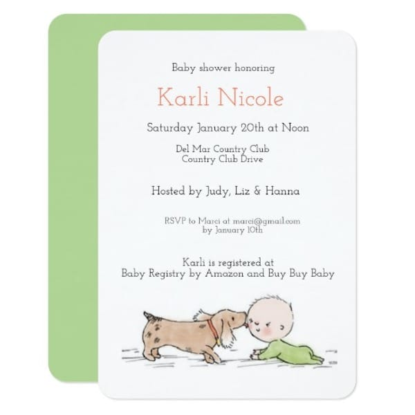 Puppy themed baby shower invitation