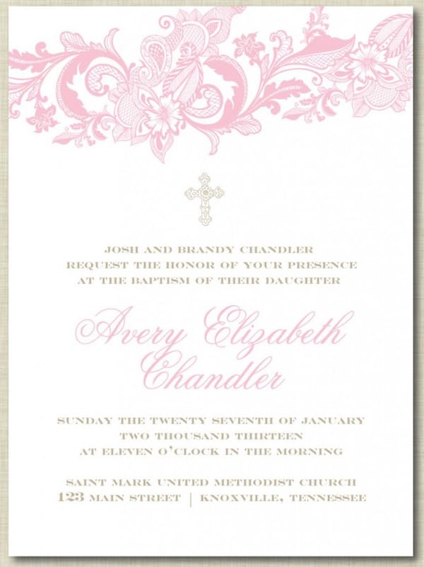 The Avery Lace Customizable Religious Invitation
