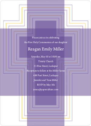 Bold, Geometric Cross - Holy Communion Invitations