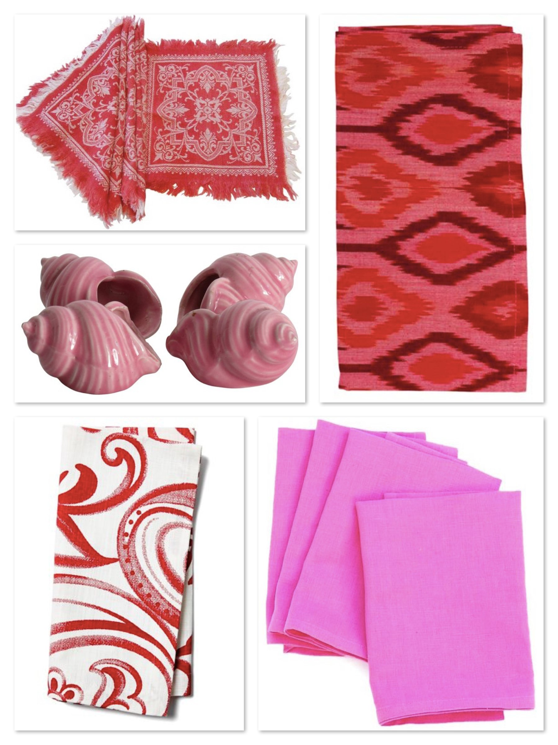 pink and red napkins