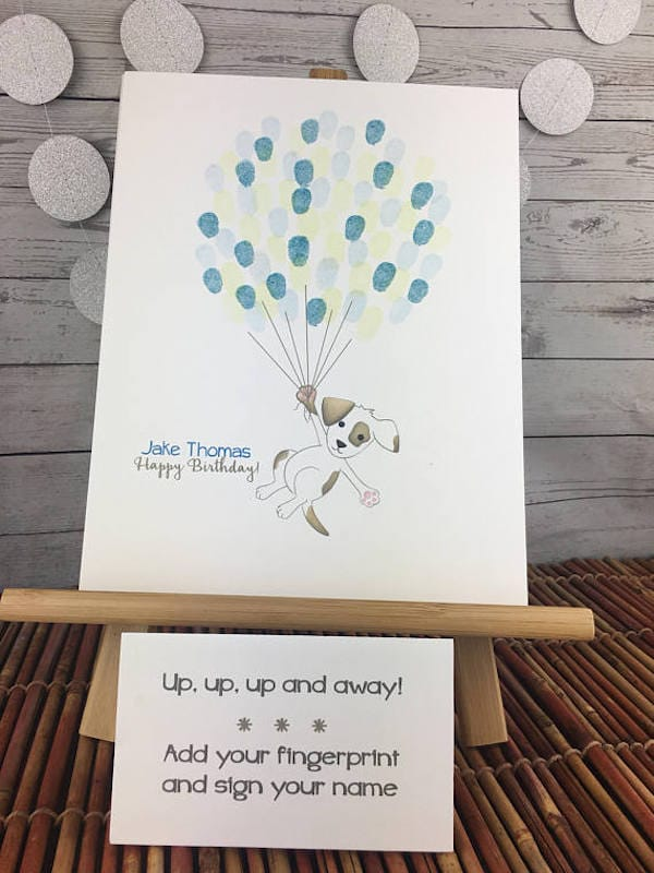 Puppy baby shower thumbprint craft guestbook