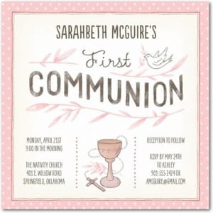 Sketched Blessing Pink First Communion Invitations