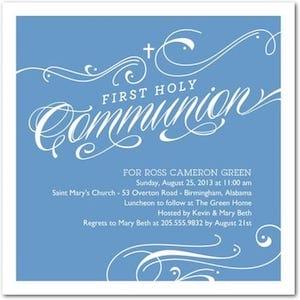 Spirited swirls communion invitations