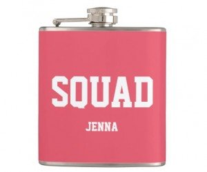 pink bridesmaid flask