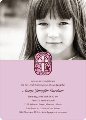 Stained Glass Photo First Holy Communion Invitation