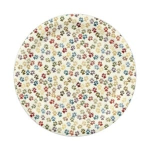 Tile of dog paw prints paper plate