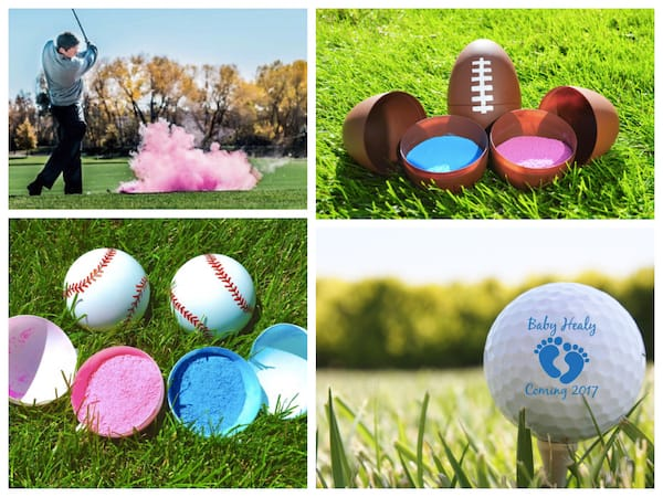 Baby Gender Reveal Exploding Baseball Football & Golf Balls