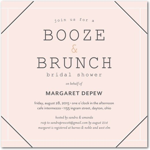 Booze and Brunch Bridal Shower Invitation