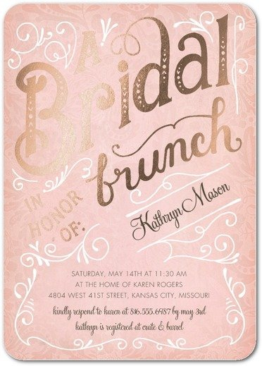 bridal brunch foil bridal shower invitations