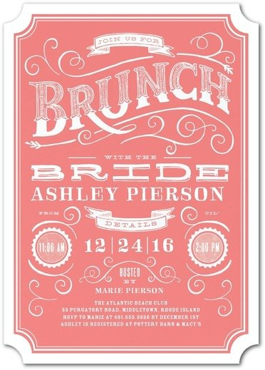 Vintage Brunch Bridal Shower Invitations
