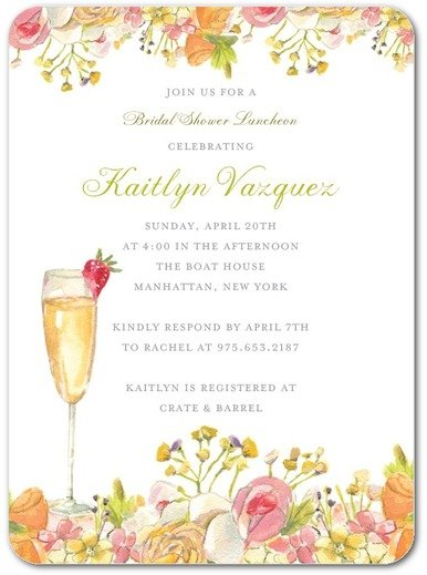 Champagne Blossoms Bridal Shower Invitations