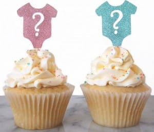 Gender reveal onesies cupcake toppers