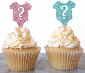 Gender reveal oneies cupcake toppers