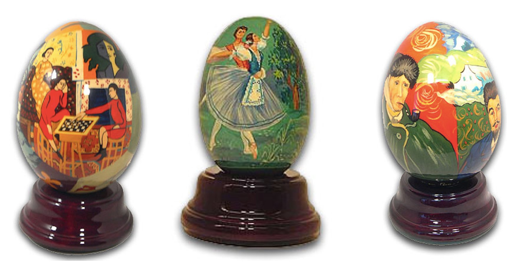 Hand Painted Russian Reuge Musical Eggs