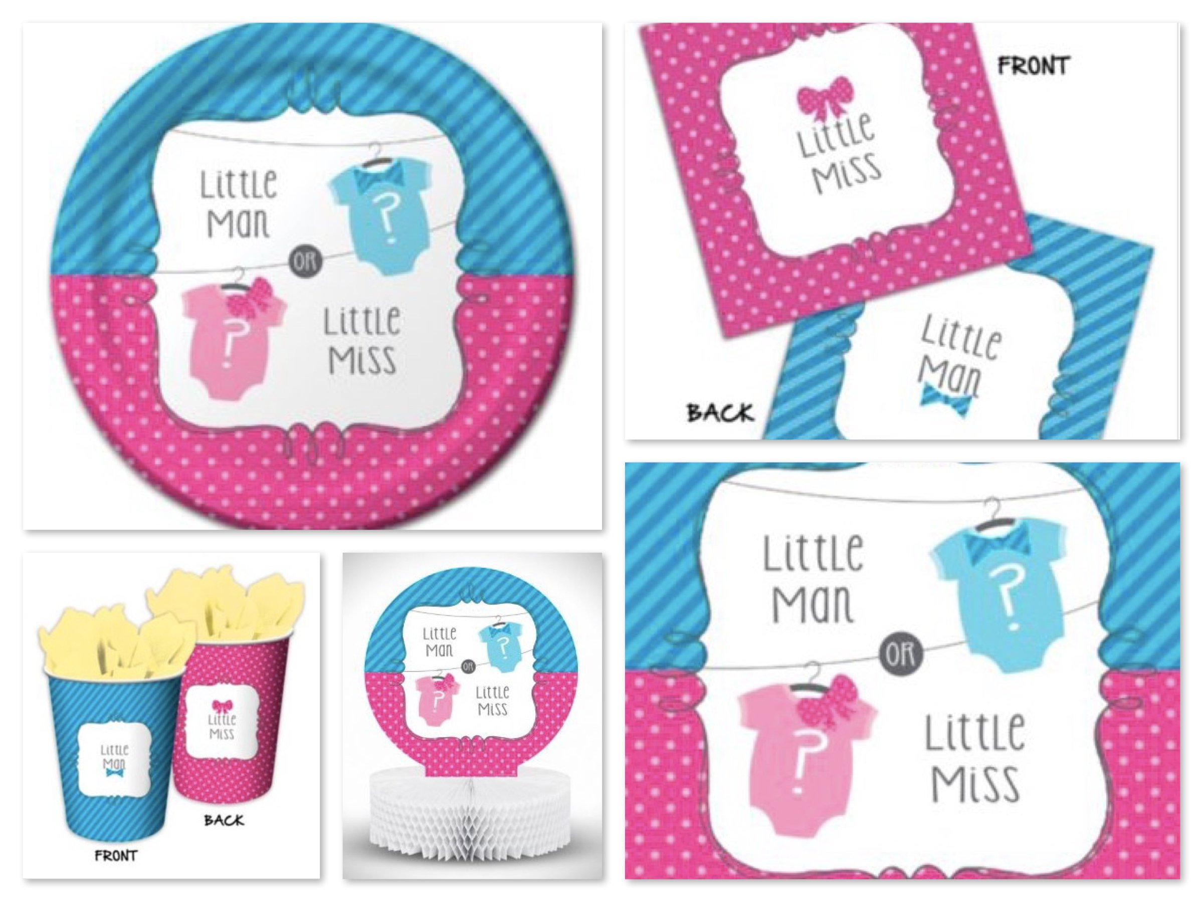Little Man or Little Miss Gender Reveal Party Supplies