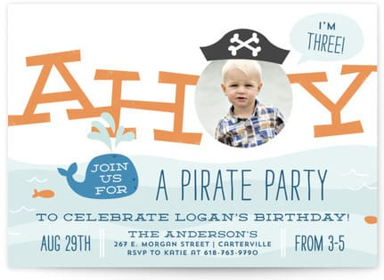 Little Scallywag Children's Pirate Themed Birthday Party Invitations