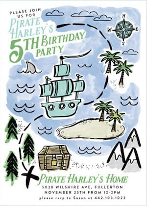 Pirates Map Birthday Party Invitations