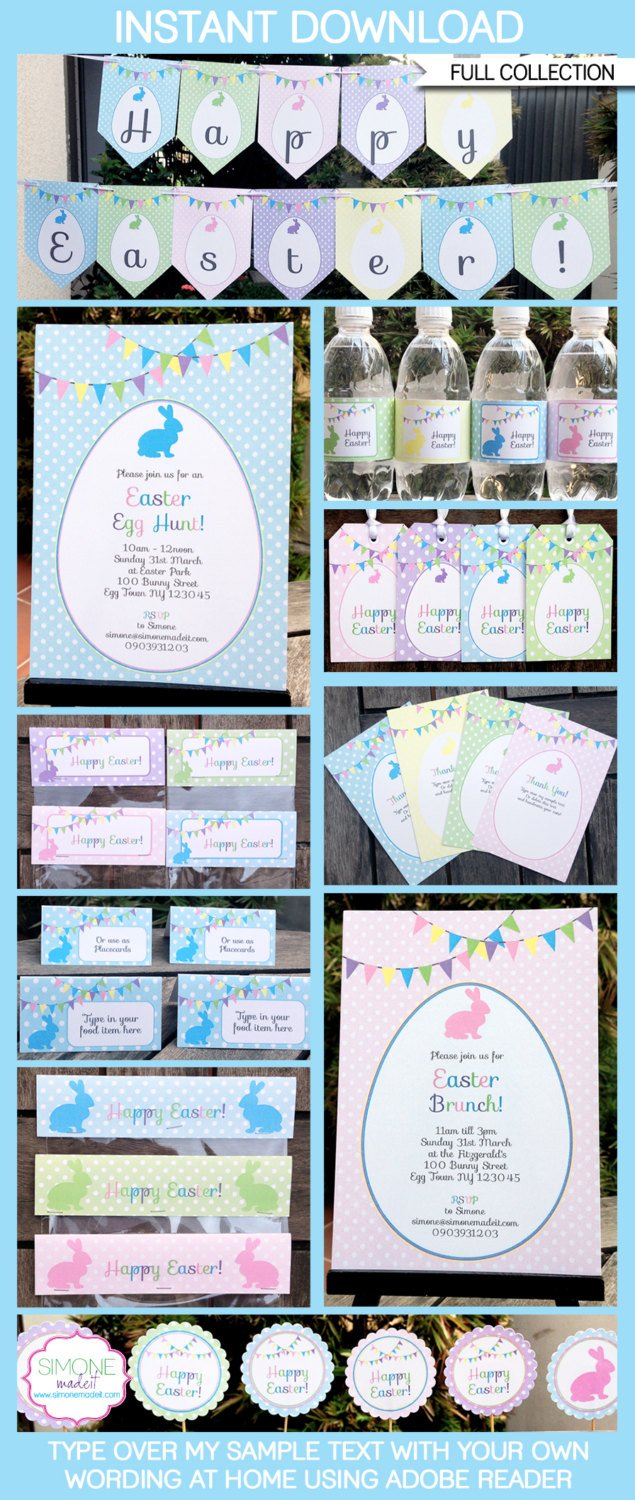 Printable Easter Party Banners and Supplies