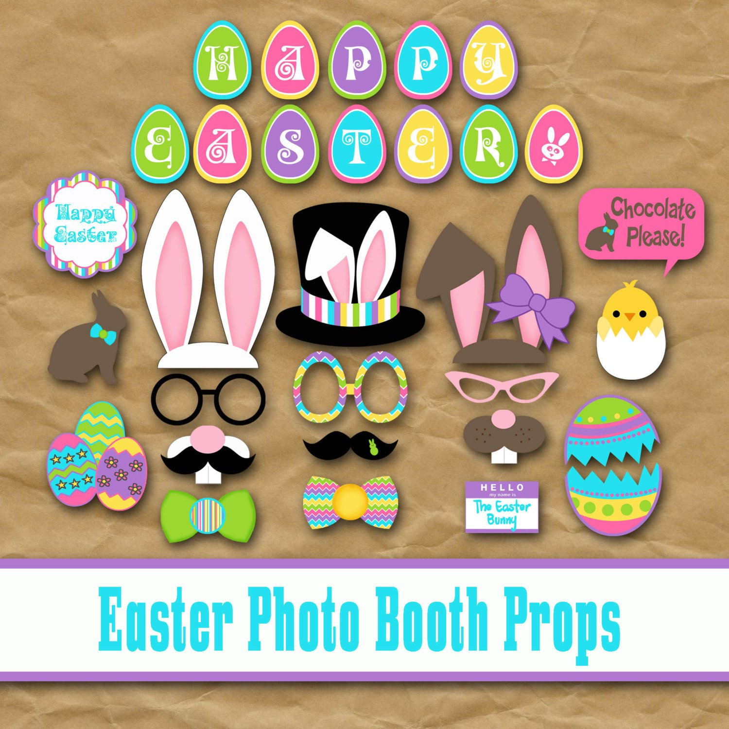 Printable Easter Photo Booth Props