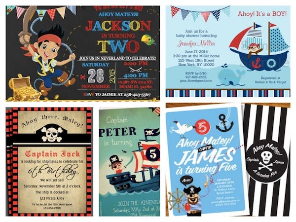 Printable Pirate Party Invitations