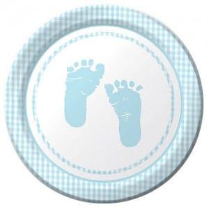 Sweet Baby Feet Blue Round Dessert Plates