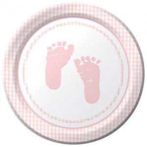 Sweet Baby Feet Pink Round Dessert Plates