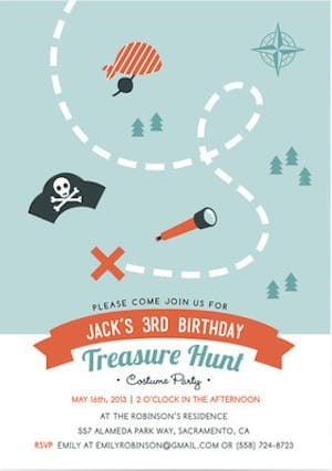 Treasure Hunt Pirate Birthday Party Invitations