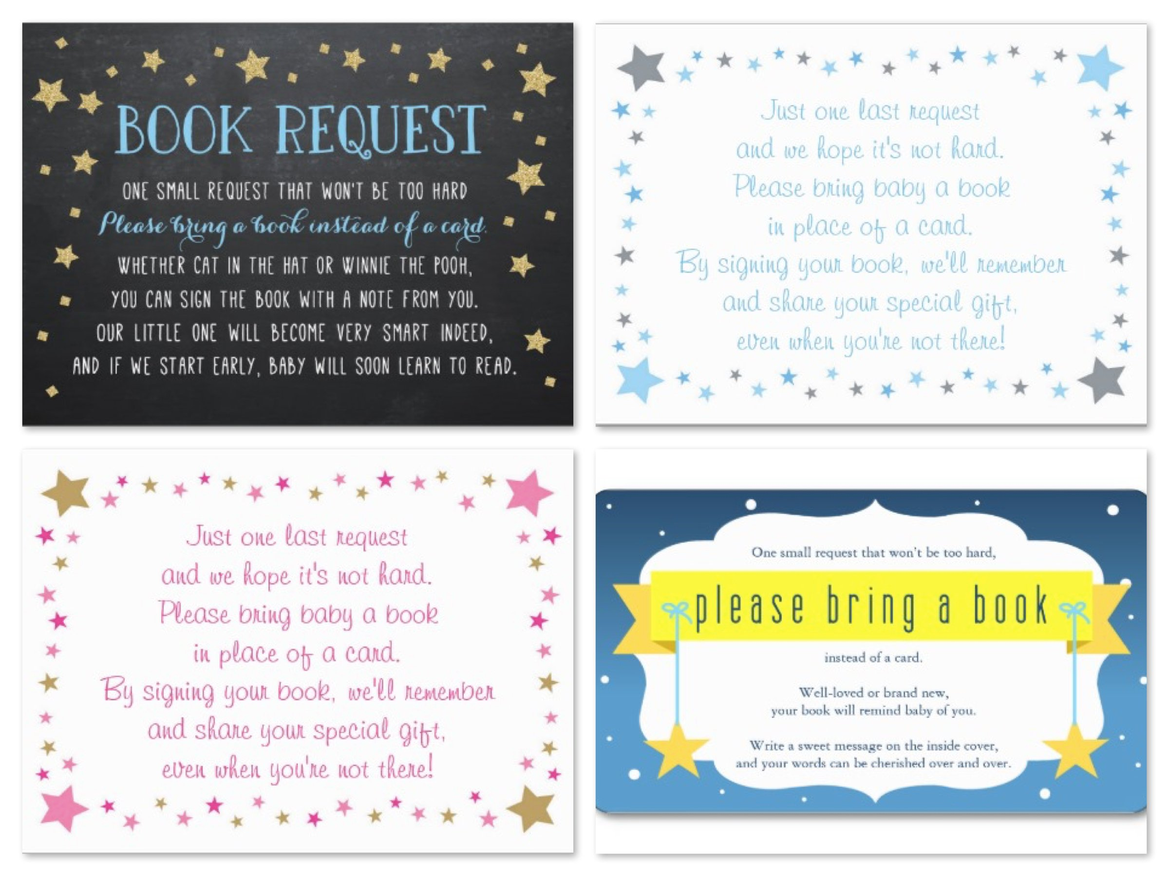 Twinkle Twinkle Little Star Baby Shower Book Request Card