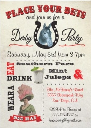 Place Your Bets Derby Party Invitations