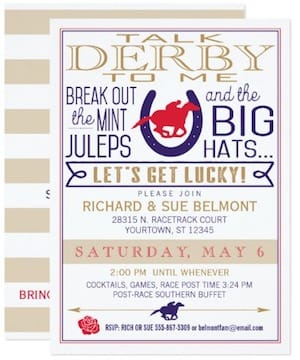 Kentucky Derby Horse Racing Party Talk Derby to Me Invitation