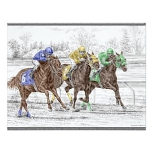 Three Horses Racing Invitations