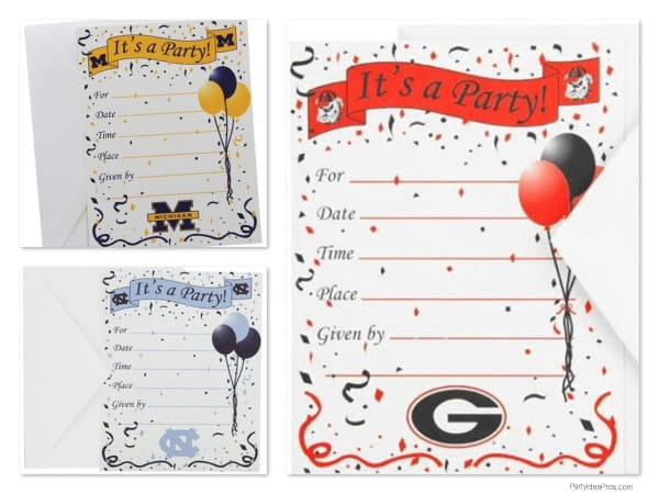 College Team Logo Invitations, baseball party invitations