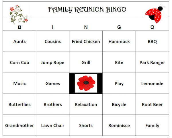 Family Reunion Bingo, printable family reunion games