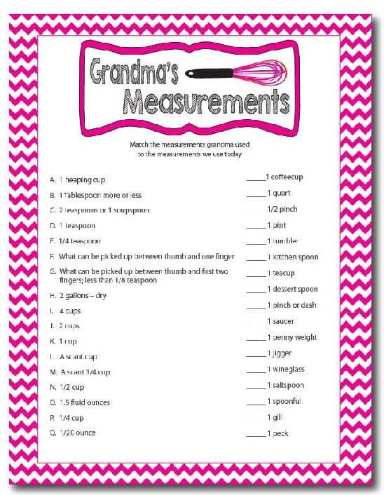Grandmas Measurements Printable Family Reunion Game