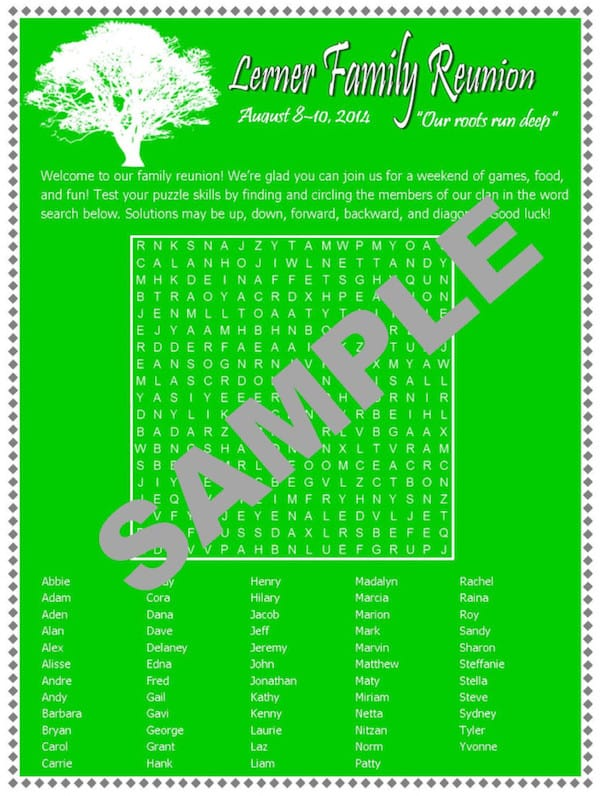 Personalized Family Reunion Printable Word Search