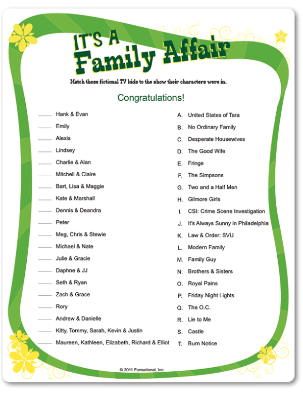 Printable Family Reunion Games